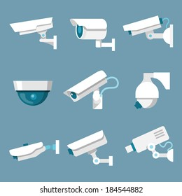 24 hours security surveillance camera or CCTV icons set white on color background isolated vector illustration