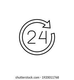 24 Hours service icon in flat black line style, isolated on white background