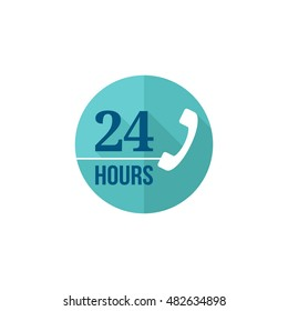 24 hours service icon in flat color style. Call center, support, help desk