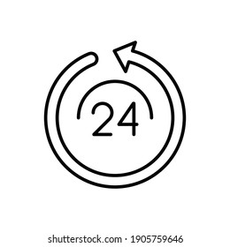24 hours service line icon, outline vector sign, linear pictogram isolated on white background. EPS 10