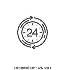 24 hours service line icon, outline vector sign, linear pictogram isolated on white. logo illustration