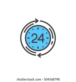 24 hours service line icon, filled outline vector sign, linear colorful pictogram isolated on white. logo illustration