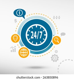 24 hours service sign and creative design elements. Flat design concept