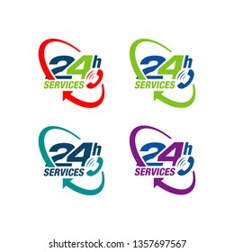 24 hours service vector icon. day/night services button symbol. illustration of 24/7 sign.