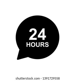 24 hours sign black and white color vector