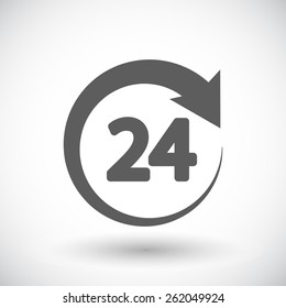24 hours. Single flat icon on white background. Vector illustration.
