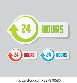 24 Hours Sticker Label