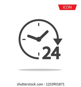 24 hours vector icon isolated on white background