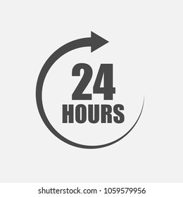 24 hours vector icon with rotating aroow