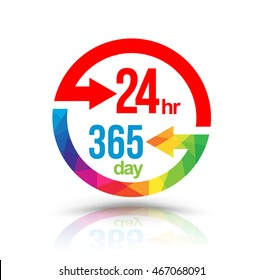 24 hr 365 day with circle arrows. Vector illustration. Use for symbol open at all time services.