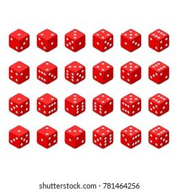 24 isometric dice. Twenty-four variants red game cubes isolated on white background. All possible turns authentic collection icons in realistic style. Gambling concept. Vector illustration EPS 10.