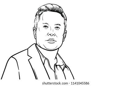 24 July, 2018: Famous founder, CEO and entrepreneur Elon Musk vector portrait