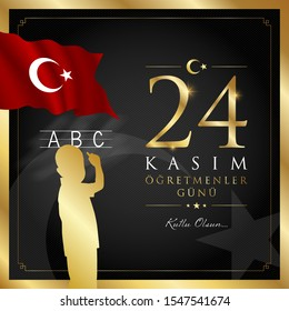 24 kasim ogretmenler gunu vector illustration. (24 November, Turkish Teachers Day celebration card.)