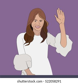 24 NOV, 2016: US First Lady Melania Trump Vector portrait. Melania Trump is a wife of 45th US President Donald Trump posing for cameras and smiling.