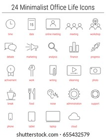 24 Office life icons for presentations and human ressource management