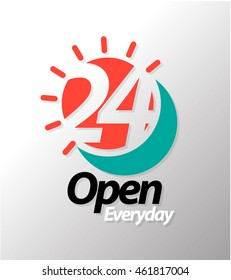 24 Open everyday graphic icon. Vector illustration.