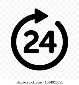 24 round arrow vector icon. Customer support, delivery and 24 hours open round clock sign