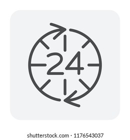 24 service support icon on white, editable stroke.