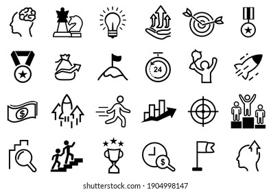 24 Set of Motivation and Target Vector Icons. Contains such Icons as Achievement, Business goal, Mission Path, strategy, success, growth, career, commitment, enthusiasm, ambition and more. editable.