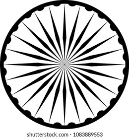 24 spoke ashoka wheel chakra indian Buddhist vector