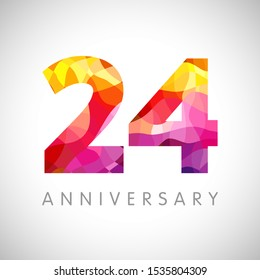24 th anniversary numbers. 24 years old multicolored logotype. Age congrats, congratulation art idea. Isolated abstract graphic design template. Coloured 2, 4 digits. Up to 24% percent off discount.
