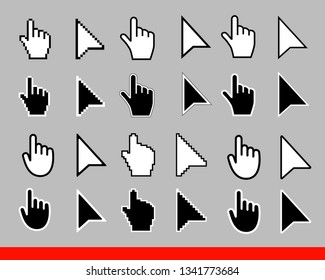 24 White arrow and pointer hand cursor icon set. Pixel and modern version of cursors signs. Symbols of direction and touch the links and press buttons Isolated on gray background vector illustration.