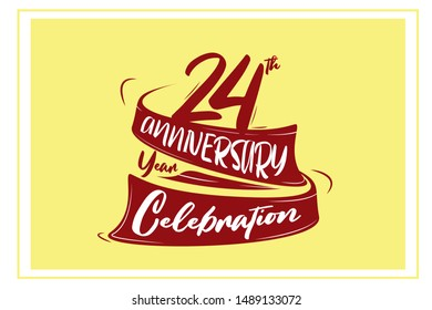 24 year anniversary Red Ribbon, minimalist logo, greeting card. Birthday invitation. 24 year sign. Red space vector illustration on yellow background - Vector