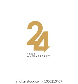 24 Year Anniversary Vector Template Design Illustration