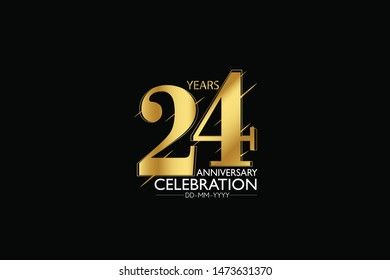 24 year minimalist logo years, jubilee, greeting card. Birthday invitation. Sign Gold space vector illustration on black background - Vector