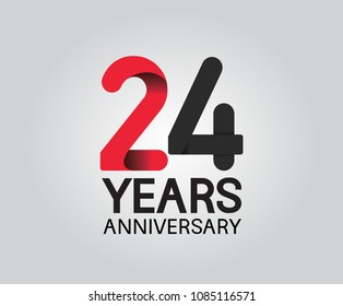 24 years anniversary black and red soft color for company celebration isolated on white background