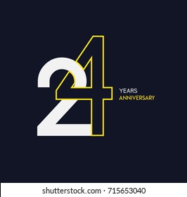24 years anniversary celebration linked number logo, isolated on dark background