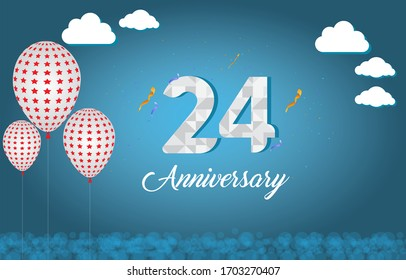 24 years anniversary celebration logo vector template design illustration