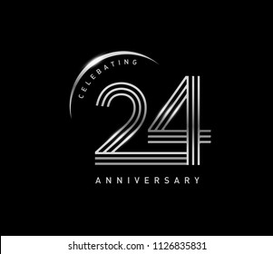 24 years anniversary celebration logotype with line number style silver color isolated on black color. vector anniversary for celebration, invitation card, and greeting card