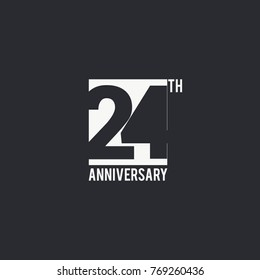 24 Years Anniversary celebration simple design. silhouette number inside white box vector illustration. logo type