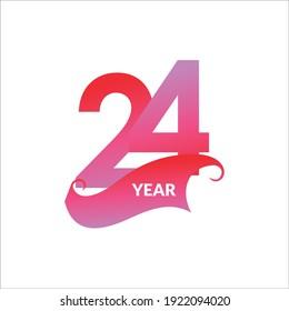 24 Years Anniversary Celebration Vector Template Design Illustration
