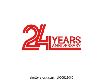 24 years anniversary design with red multiple line style isolated on white background for celebration