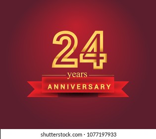 24 years anniversary design with red ribbon and golden color isolated on red background, Design for anniversary celebration.