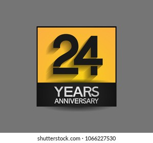 24 years anniversary design square style yellow and black color isolated on gray background for celebration event