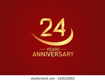 24 years anniversary design with swoosh golden color isolated on red background for celebration