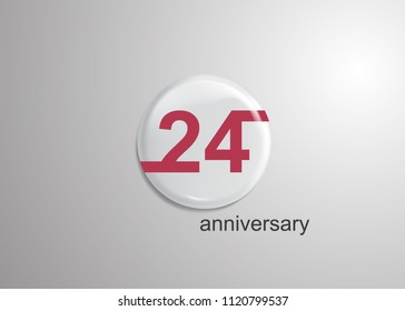 24 Years Anniversary Logo Celebration, red flat design inside 3d white rounded background