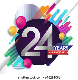 24 years Anniversary logo with colorful abstract background, vector design template elements for invitation card and poster your birthday celebration.