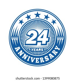 24 years anniversary. Anniversary logo design. Vector and illustration.