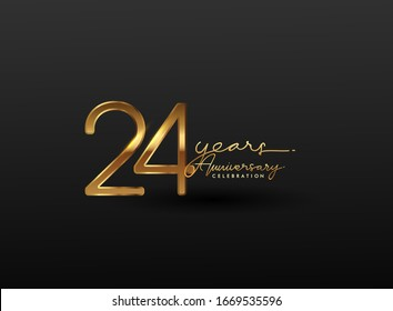 24 Years Anniversary Logo Golden Colored isolated on black background, vector design for greeting card and invitation card