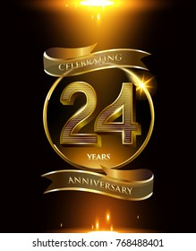 24 years anniversary logo with shiny ribbon and golden ring isolated on black background
