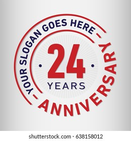 24 years anniversary logo template. Vector and illustration.