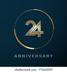 24 Years Anniversary Logotype with  Gold and Silver Multi Linear Number in a Golden Circle , Isolated on Dark Background