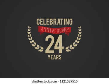 24 Years Anniversary logotype with golden colored font numbers, with ribbon and laurel, isolated on black background for company celebration event, birthday