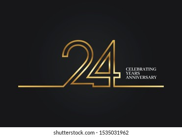 24 Years Anniversary logotype with golden colored font numbers made of one connected line, isolated on black background for company celebration event, birthday