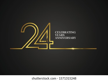 24 Years Anniversary logotype with golden colored font numbers made of one connected line, isolated on black background for company celebration event, birthday - Vector