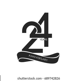 24 years anniversary pictogram vector icon, years birthday logo label, black and white stamp isolated